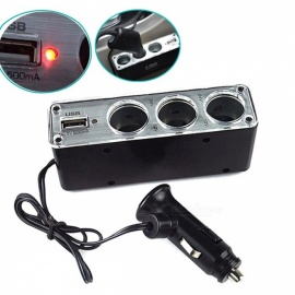 Car Cigarette Lighter Splitter 3-Way Multi Socket USB Charger DC 12V 24V Triple Adapter with USB Port DXY88 Black