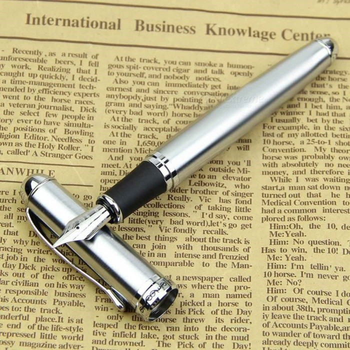 Jinhao X750 Portable Premium High-End Silver Stainless Steel Medium 18KGP Nib Fountain Pen, Perfect Gift for Students
