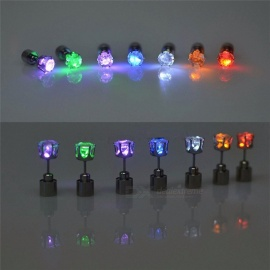 1 Pair Light Up LED Flashing Blinking Stainless Steel Earrings Studs, Dance Party Accessories Supplies for Woman Yellow Light