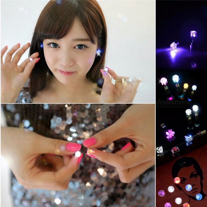1 Pair Light Up LED Flashing Blinking Stainless Steel Earrings Studs, Dance Party Accessories Supplies for Woman