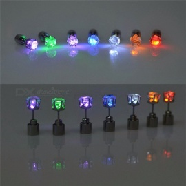 1 Pair Light Up LED Flashing Blinking Stainless Steel Earrings Studs, Dance Party Accessories Supplies for Woman Pink Light
