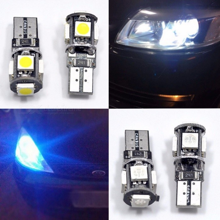 10Pcs T10 Canbus 5-LED SMD5050 Car Light, W5w 194 168 Error Bulbs, DC 12V Wedge Lamp Band Decoder Turn Signal Light BlueDecorative Lights / Strip<br>DescriptionColor Temperature: 6000KInterface Type: T10 (W5W/194)Item Type: Clearance LightsBrand Name: HVIEROLumens: 2600LmFor Vehicle Brands/Model: Universal<br>