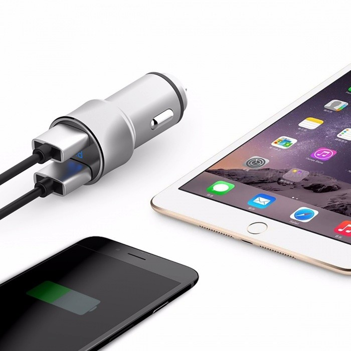 ROCK H2 5V/3.4A Fast Charging Dual USB Car Charger w/ Digital LED Display, Voltage Monitoring for IPHONE 6 7 Samsung S8 Plus