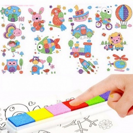 DIY 8Pcs Cartoon Finger Painting Craft Set, Colorful Fingerpaint Drawing Educational Learning Picture Toy for Children Colorful