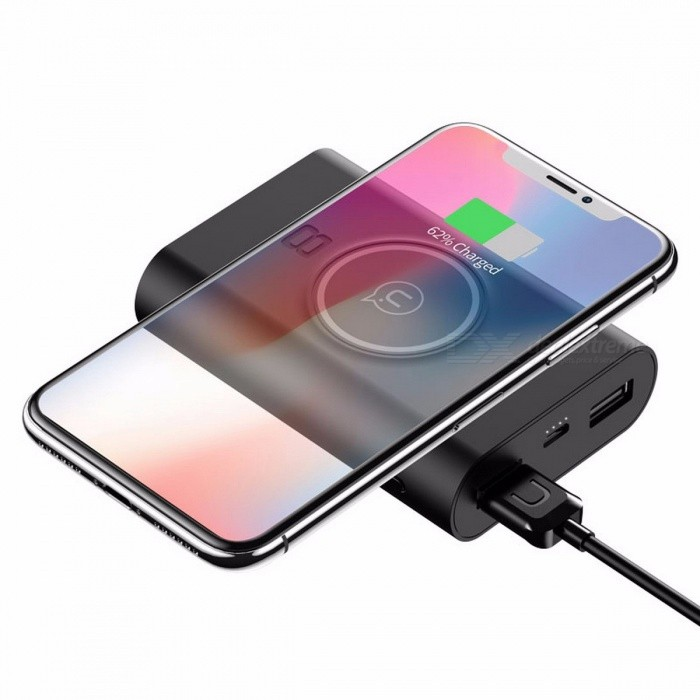 USAMS Universal 5V 2A Dual USB Ports 8000mAh 5W Power Bank w/ QI Wireless Charger Charging Pad Function BlackMobile Power<br>DescriptionType: Emergency / PortableQuality Certification: FCC,CE,CCC,RoHSBrand Name: USAMSBattery Type: Li-polymer BatteryWeight: 222gIs LED Lamp Illumination: YesOutput: 5V/2.1ABattery Capacity(mAh): 7001-9000mAhSupports Solar Energy: NoInput Interface: Micro USBSupport Quick Charge Technology: NoOutput Interface: Double USBSize: Other<br>