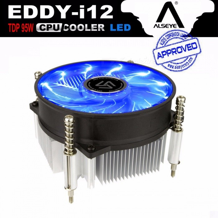 ALSEYE CPU Heatsink with 90mm LED CPU Fan, TDP 95W 0.23A 2200RPM CPU Cooler for LGA 1150/1151/1155/AM2/AM2+/AM3/AM3+/AM4 i12Hardware Cooling Gears<br>Description<br><br><br><br><br>Fan Size: 92x92x25mm<br><br><br>Fan Life: 40000 hrs<br><br><br><br><br>Lines: 3 Lines<br><br><br>Power Interface: 3PIN<br><br><br><br><br>Noise: 17dBA<br><br><br>Power: 2.5W<br><br><br><br><br>Heatsink Material: Copper &amp;amp; Aluminum<br><br><br>Air Volume: 45CFM<br><br><br><br><br>Application: Processor<br><br><br>Fan Speed Control: 2200RPM<br><br><br><br><br>Package: Yes<br><br><br>Type: Heatsink<br><br><br><br><br>Bearing: Fluid Bearing<br><br><br>Brand Name: ALSEYE<br><br><br><br><br><br><br><br><br>Fan Frame Color: Black <br><br><br>Blades &amp;amp; LED Color: Blue <br><br><br>Fan Air Flow: i12-49.8CFM / A12-48.5CFM <br><br><br>Heat Sink Size: i12 - 88 x 88 x 35mm / A12 - 80 x 80 x 35mm <br><br><br>i12-Compatibility: LGA 1150 / 1151 / 1155 / 1156 <br><br><br>A12-Compatibility: (Keep your original mount) FM2 / FM3 / AM2 / AM2+ / AM3 / AM3+ / AM4 <br><br><br>Fan LEDs: 12 LEDs <br><br><br>More Details: Please view details page <br><br><br><br>Features <br><br><br>&amp;nbsp;<br><br><br><br>1. Pure aluminum heat sink, high efficiency heat dissipation, solve high temperature problem,&amp;nbsp; <br><br><br>&amp;nbsp; &amp;nbsp;  make your computer runing more smoothly. <br><br><br>&amp;nbsp;<br><br><br><br>2. 90mm&amp;nbsp;12LEDs&amp;nbsp;ultra-quiet fan. Hydraulic bearing, reduce the frictional resistance,&amp;nbsp; <br><br><br> &amp;nbsp; &amp;nbsp;effectively lower the noise. <br><br><br><br>&amp;nbsp;<br><br><br>3. The screw and backplane fixed, effectively prevent the long time use lead to deformation  <br><br><br>&amp;nbsp; &amp;nbsp; of motherboard. <br><br><br>&amp;nbsp;<br><br><br>4. Designed for LGA 115x series, simple installation. <br><br><br><br>&amp;nbsp;<br><br><br>EDDY-i12 &amp;nbsp;SPECIFICATIONS <br><br><br>&amp;nbsp;<br><br><br>Dimension&amp;nbsp;: &amp;nbsp; &amp;nbsp;&amp;nbsp; 95 x&amp;nbsp;95 x 60mm&amp;nbsp; <br><br><br>&amp;nbsp;<br><br><br>Fan Speed&amp;nbsp;: &amp;nbsp; &amp;nbsp;&amp;nbsp; 2200RPM&amp;nbsp;+/-10% <br><br><br>&amp;nbsp;<br><br><br>Fan LED : &amp;nbsp;&amp;nbsp; 12 LEDs (Blue) <br><br><br>&amp;nbsp;<br><br><br>Voltage&amp;nbsp;: &amp;nbsp; &amp;nbsp;&amp;nbsp; DC 12v <br><br><br>&amp;nbsp;<br><br><br>Current&amp;nbsp;: &amp;nbsp; &amp;nbsp;&amp;nbsp; 0.23A&amp;nbsp; <br><br><br>&amp;nbsp;<br><br><br>Input Power&amp;nbsp;: &amp;nbsp; &amp;nbsp;&amp;nbsp; 2.8W <br><br><br>&amp;nbsp;<br><br><br>Air Flow&amp;nbsp;: &amp;nbsp; &amp;nbsp;&amp;nbsp; 48.5CFM <br><br><br>&amp;nbsp;<br><br><br>Bearing Type&amp;nbsp;: &amp;nbsp; &amp;nbsp;&amp;nbsp; Hydraulic <br><br><br>&amp;nbsp;<br><br><br>Fan Noise&amp;nbsp;: &amp;nbsp; &amp;nbsp;&amp;nbsp; 16.8dB(A) <br><br><br>&amp;nbsp;<br><br><br>Heat Sink Material :&amp;nbsp;&amp;nbsp; &amp;nbsp;Aluminum <br><br><br>&amp;nbsp;<br><br><br>Heat Sink Size :&amp;nbsp; &amp;nbsp; &amp;nbsp;88 x 88 x 35mm <br><br><br>&amp;nbsp;<br><br><br>Weight&amp;nbsp;: &amp;nbsp; &amp;nbsp;&amp;nbsp; 305g <br><br><br>&amp;nbsp;<br><br><br>Fan Life Expentency&amp;nbsp;: &amp;nbsp; &amp;nbsp;&amp;nbsp; 40,000 hours <br><br><br>&amp;nbsp;<br><br><br>Connector&amp;nbsp;: &amp;nbsp; &amp;nbsp;&amp;nbsp; 3 pin <br><br><br>&amp;nbsp;<br><br><br>LGA: &amp;nbsp;1150 / 1151 / 1155 / 1156<br>
