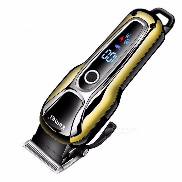 110V-240V Turbocharged Rechargeable Hair Clipper, Professional Hair Trimmer, Electric Hair Cutter Cutting Machine for Men Gold + BlackHair Trimmer Clipper<br>DescriptionItem Type: Hair TrimmerCommodity Quality Certification: CEBrand Name: Kemei<br>