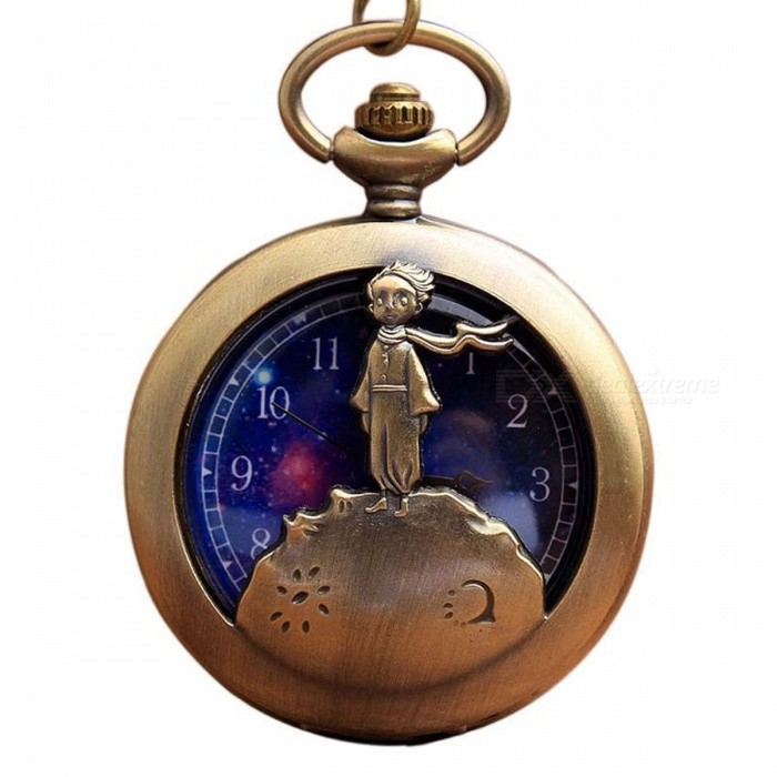 Vintage Antique Retro Bronze Little Prince Pocket Watch Flip Fob Quartz Clock with Chain Necklace Gift for Children Adults