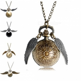 Antique Golden Wizard Magic Quartz Pocket Watch with Harry Fob Clock Wings Necklace for Men Women Gift Gold