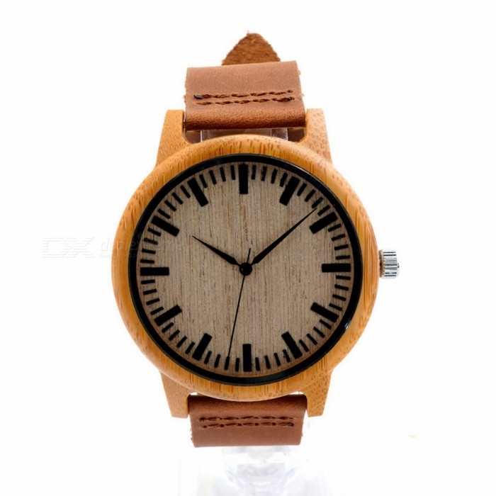 BOBO BIRD WA16 Unique Vintage Bamboo Wooden Quartz Watch with Scale, Soft Leather Strap for Men Women