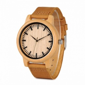 BOBO BIRD WA16 Unique Vintage Bamboo Wooden Quartz Watch with Scale, Soft Leather Strap for Men Women No dials