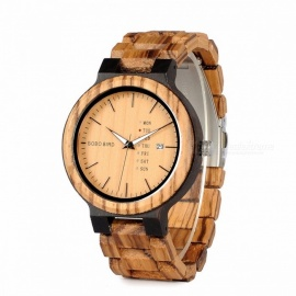 BOBO BIRD Newest Fashion Unique High-End Two-Tone Wooden Quartz Watch with Auto Date, Week Display for Men Brown Face