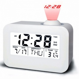 LCD Projection Digital Alarm Clock, Electronic Desk Table Bedside Nixie Clock Talking Projector Watch with Time Projection White