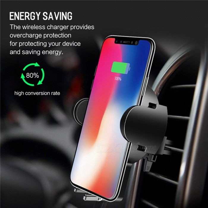 ROCK 5W Fast Charging QI Car Wireless Charger, Phone Stand for IPHONE 8 X Samsung Galaxy S8 Note 8 Plus