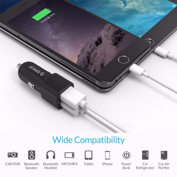 ORICO 3.4A Car Charger Dual USB Ports Mini Universal Fast Smart Car Charger for IPHONE 7 LG Samsung Xiaomi and More Phones