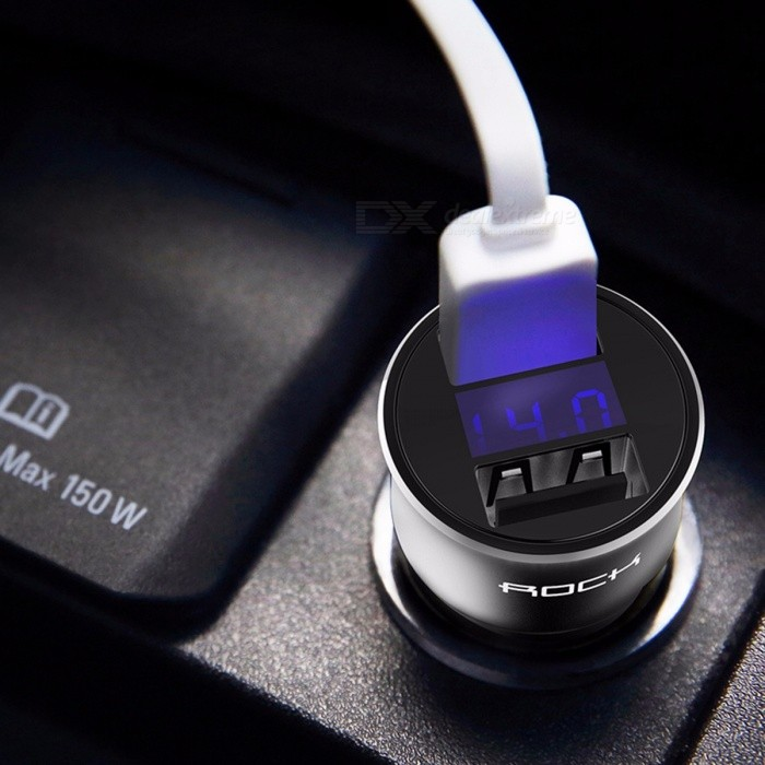 ROCK 5V 3.4A Car Charger Digital Display Screen Digital Readout Dual USB Car Charger for Cell Phone Tablet PC