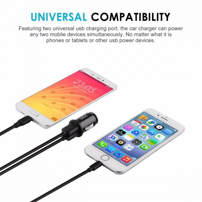 CRDC Car Charger Quick Fast Charge Dual USB Mobile Phone Car Charger Adapter for IPHONE 7 6S Samsung LG Xiaomi