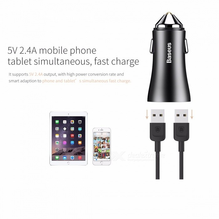 Baseus Car Charger Dual USB Ports 2.4A Fast Charge Adapter Metal Mini USB Car Charger for IPHONE Xiaomi Samsung Mobile Phones