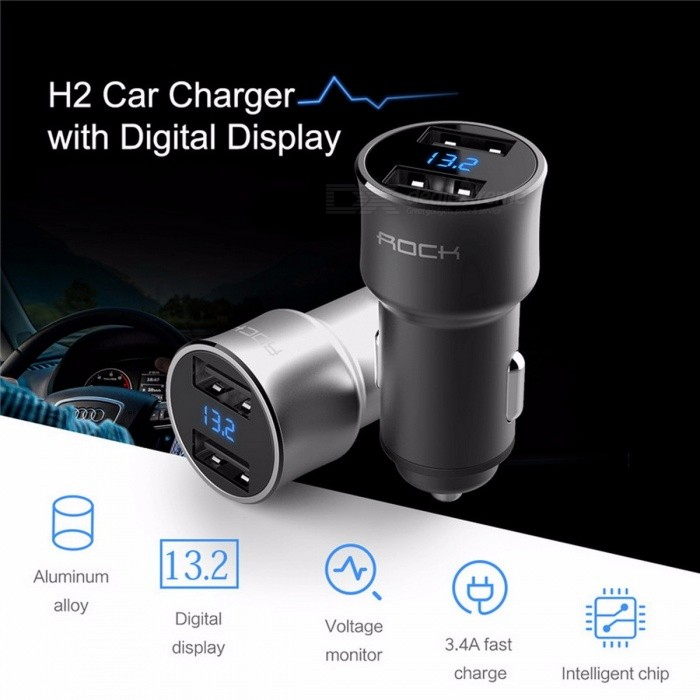 ROCK Digital Display Car Charger Dual USB Ports 5V 3.4A Fast Charge Voltage Monitoring for IPHONE Xiaomi Samsung and More Phones