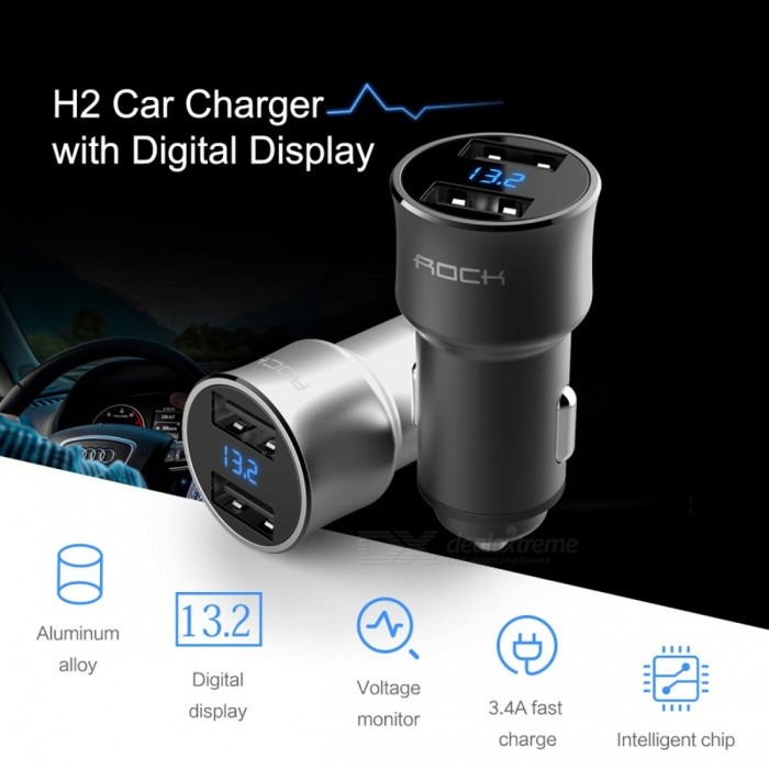 ROCK H2 Digital Dual USB Port 3.4A Rapid Charge Car Phone Charger with LED Display, Output Current Votage Detector