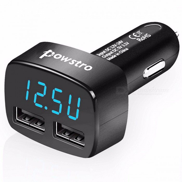 Dual USB Car Charger w/ 5V 3.1A Voltage Current Display, Temperature Monitor Adapter for 12-24V Car Tablet Smart Phone