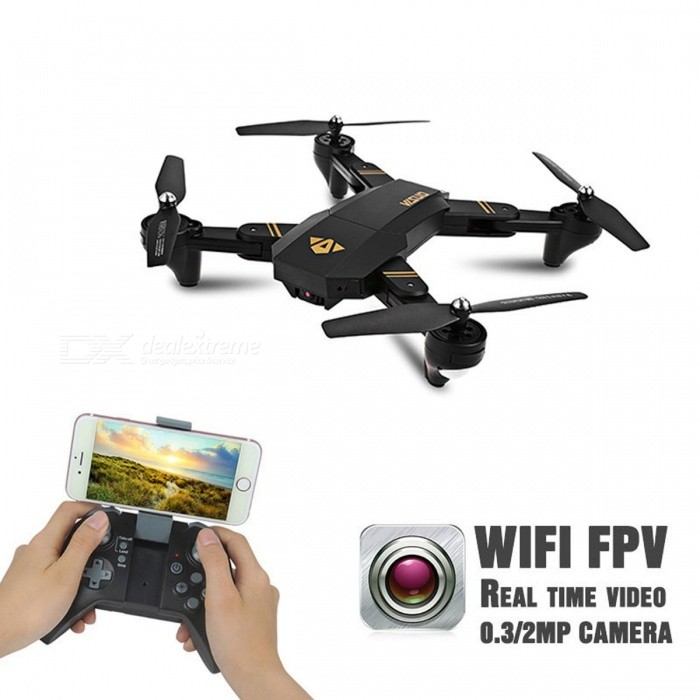 Mini Foldable Selfie Drone Visuo XS809W XS809HW RC Drone with Wi-Fi FPV 0.3MP or 2MP Camera Altitude Hold Quadcopter VS JJRC H37 Black (30w XS809HW 1B)R/C Airplanes&amp;Quadcopters<br>Description<br><br><br><br><br>Type: Helicopter<br><br><br>Features: Remote Control,Flashing<br><br><br><br><br>Aerial Photography: No<br><br><br>Age Range: 8-11 Years,& 14 years old,12-15 Years<br><br><br><br><br>State of Assembly: Ready-to-Go<br><br><br>Package Includes: USB Cable,Original Box,Camera,Operating Instructions,Batteries,Remote Controller<br><br><br><br><br>Motor: Brush Motor<br><br><br>Material: Plastic,Rubber,Metal<br><br><br><br><br>Control Channels: 4 Channels<br><br><br>Controller Mode: MODE2<br><br><br><br><br>Power Source: Electric<br><br><br>Brand Name: JJRC<br><br><br><br><br>Remote Control: Yes<br><br><br><br><br><br><br><br><br><br><br><br>Note:<br>1.This product is XS809HW, it has altiude hold mode!<br>2.There are two different version of XS809HW, one version has&amp;nbsp; 0.3mp wifi camera, you can buy them on first 6 six options; another version has 2mp wifi camera, you can buy them on last 6 six options<br>3.XS809HW only can save video and picture into the phone ,the sd card slot is useless!<br><br>Features:<br>Wifi transmission system provides easy and fun FPV flight.<br>0.3MP or 2MP camera can take photos and record videos.<br>Foldable design, portable and easy to carry.<br>Tiltable camera to adjust view angle.<br>Unique fuselage design and high quality painting, outstanding appearance.<br>Upgraded 2.4G 4CH transmitter for your easy control.<br>The latest 6-axis flight control system, provides super stable flight.<br>With headless mode, and one-key return care free to fly.<br>High/low speed mode and 3D flip function provide you cool flying experience.<br><br>Specifications:<br>Brand name: VISUO<br>Model name: XS809HW<br>Main Material: ABS<br>Motor type: Coreless motor<br>Camera pixel: 0.3MP/2MP<br>Function: forward/backward, up/down, left/right, sideward flight, hovering, 3D flips, H/L speed, headless mode, Wifi FPV, photo taking, video recording<br>Controller Mode: Mode 2<br>Remote distance: About 100m<br>Charging time: About 50mins<br>Flying time: About 10 minutes<br>Quadcopter battery: 3.7V 900mAh LiPo battery<br>Battery dimension: 74 * 31 * 11mm<br>Transmitter battery: 3 * AA (not included)<br>Item dimension:<br>Unfolded: 32.5 * 32.5 * 6cm / 12.8 * 12.8 * 2.4in,<br>Folded: 18 * 13 * 6cm / 7 * 5.1 * 2.4in<br>Item weight: 118.4g<br><br>There may be some deviation due to manual measurement.<br><br>Warm Tips:<br>The aircraft is not resistant to crash. Attention should be paid to every flight because one crash may cause a product damaged.<br>When the aircraft is falling down, you need to push the throttle to the bottom immediately in case of motor blocked and burned.<br>The mobile phone screen is displays with real-time imaging scenarios.<br>The phone displayed in the picture is just for effect, not included in the package.<br>Carefully read the instruction before any use, if you are a beginner, its advisable to be assisted by an experienced adult.<br>This quadcopter is equipped with coreless motors, continuous work with different batteries is not suggested.<br><br>Caution for the battery:<br>Dont over-charge, or over-discharge batteries.<br>Dont put it beside the high temperature condition.<br>Dont throw it into fire.<br>Dont throw it into water.<br><br>Package information:<br>Package size: 43 * 29 * 8cm / 16.9 * 11.4 * 3.1in<br>Package weight: 758g / 1.7lb<br>Gift box package<br><br>Standard package list:<br>1 * VISUO XS809W Quadcopter<br>1 * Transmitter (Mode 2)<br>1 * 3.7V 900mAh Li-po Battery<br>2 * Pair Spare Propellers<br>1 * USB Charger<br>4 * Propeller Guard<br>1 * Screwdriver<br>1 * English Manual<br>