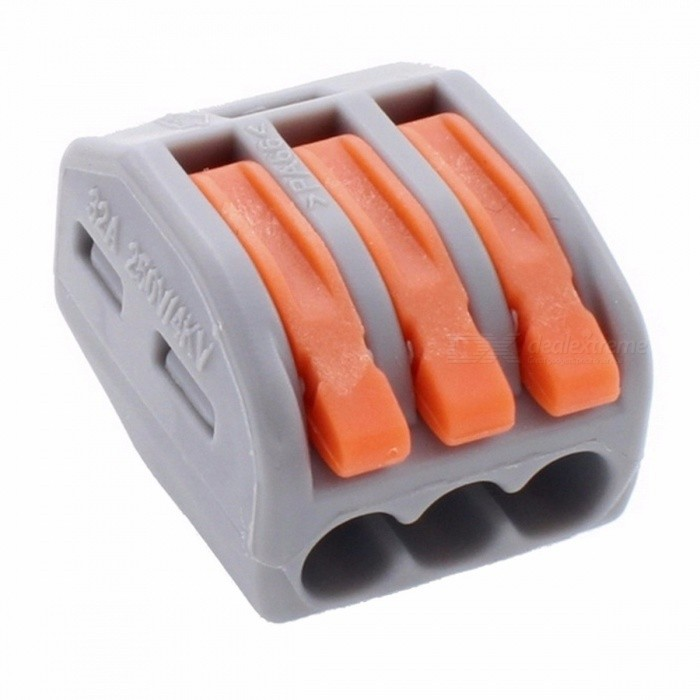 Makerele 222-413 Universal Compact Wiring 3Pin Wire Connector Conductor Terminal Block with Lever AWG 28-12 - 20PCS