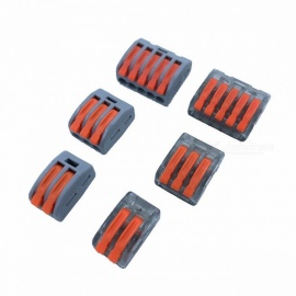 Wago Type Wire Connector 222 Series Cage Spring Universal Fast Wiring Conductors Terminal Block - 10PCS Nontransparent 415