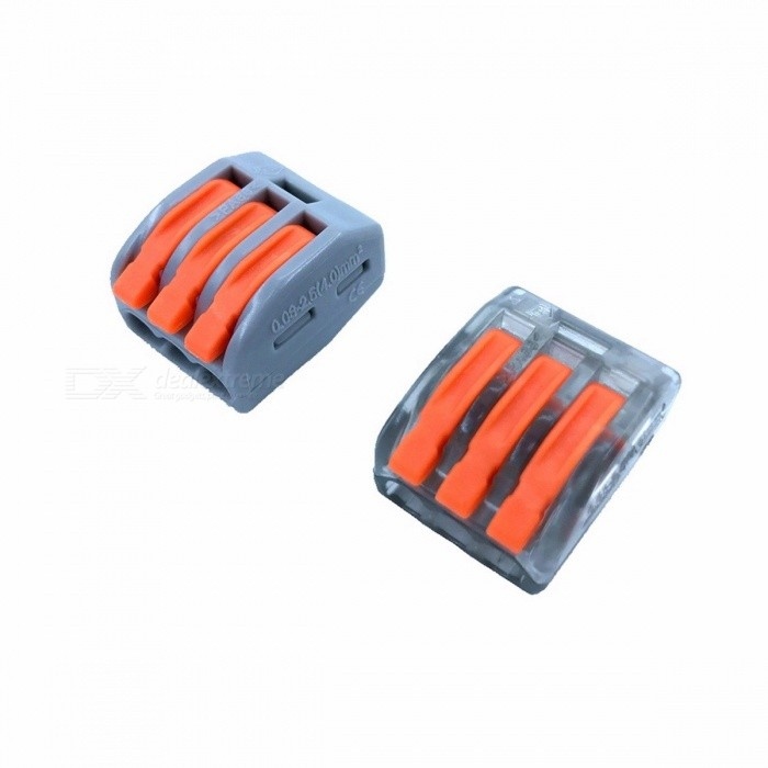 Wago Type Wire Connector 222 Series Cage Spring Universal Fast Wiring Conductors Terminal Block - 10PCS