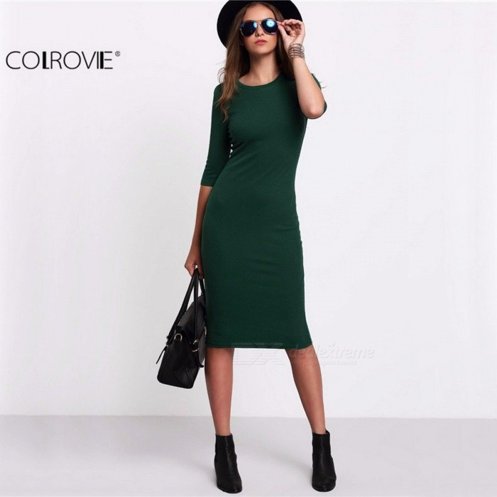 COLROVIE Summer Style Women Bodycon Work Dresses, Sexy Casual Green Crew Neck Half Sleeve Midi Dress