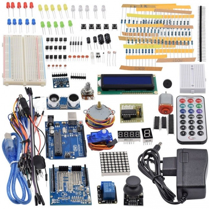 Ultimate Starter Kit Including Ultrasonic Sensor, UNO R3, LCD1602 Screen for Arduino UNO Mega2560 UNO Nano with Plastic Box