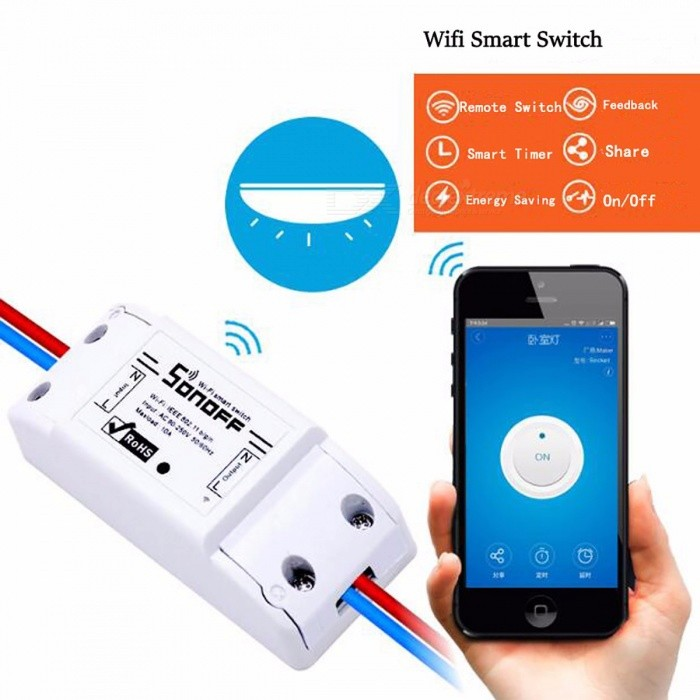 Itead Sonoff Remote Control Wi-Fi Switch, Smart Home Wireless Timer Universal Switch for Light Bulb Electrical Device