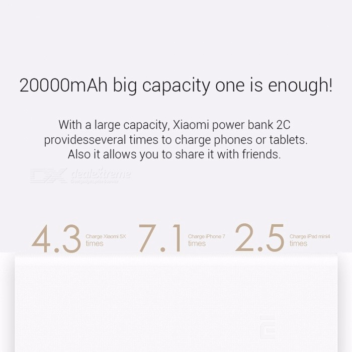 Xiaomi Mi 2C Portable 20000mAh Dual USB External Battery Phone Power Bank, Support Two-way Fast Charging QC 3.0