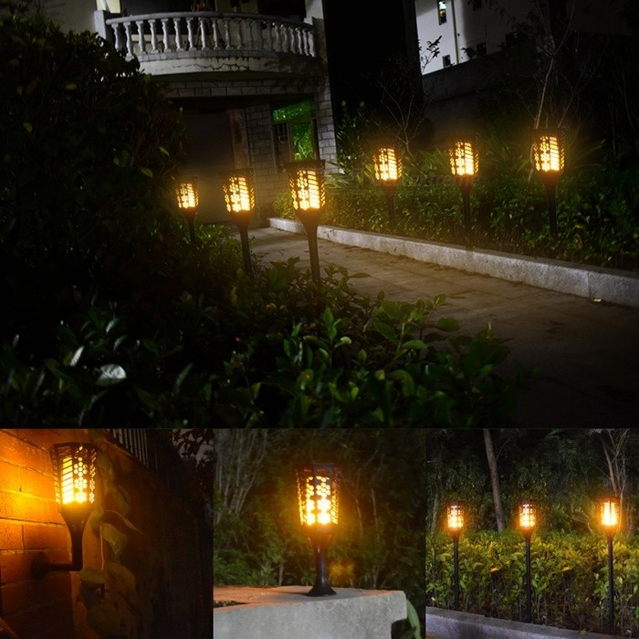 96-LED Solar Powered Torch Light for Dancing Flame Lighting, Outdoor Waterproof Garden Dusk to Dawn Flickering Wall Light