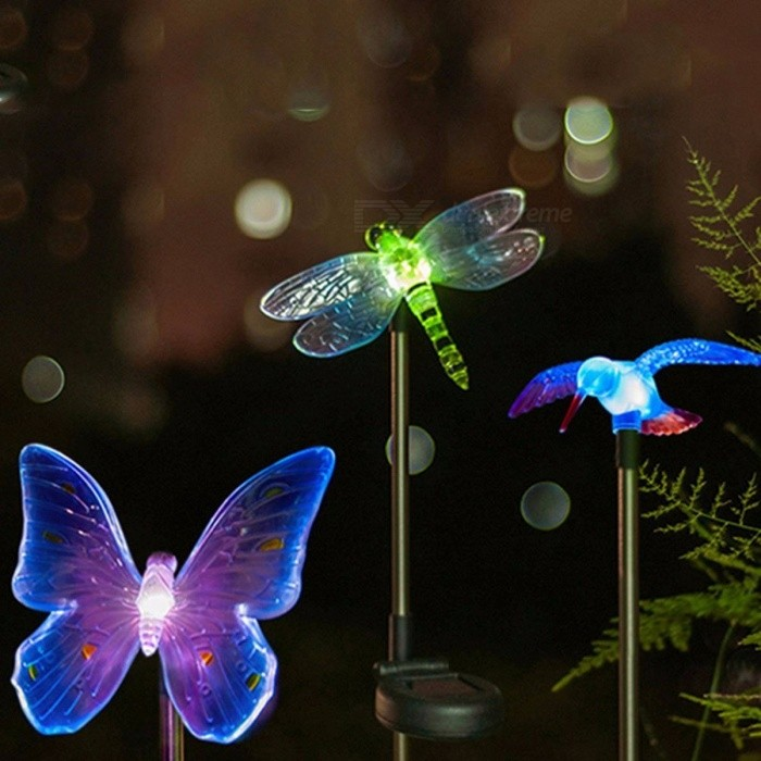 Solar Powered Color Changing LED Light Decorative Dragonfly Butterfly Bird Style Path Light Outdoor Garden Lawn Light