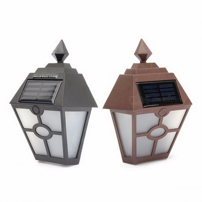 Solar Powered White Light LED Light Outdoor Lighting Garden Path Landscape Lamp Fence Yard Wall Light Lamp brownSolar Lamps<br>Description<br><br><br><br><br>Is Dimmable: No<br><br><br>Usage: Emergency<br><br><br><br><br>Brand Name: Mising<br><br><br>Is Bulbs Included: Yes<br><br><br><br><br>Solar Cell Type: Lithium Battery<br><br><br>Light Source: LED Bulbs<br><br><br><br><br>Style: Modern<br><br><br>Power Source: Solar<br><br><br><br><br><br><br><br><br><br><br>Product Features:<br>100% brand new and high quality<br>Easy to install<br>Converts sunlight energy into electricity during the day<br>Automatically turns the light on at night<br>No wires required, built-in battery<br>Long lifetime with low consumption<br><br>Specifications:<br>Li-ion battery: 1.2V 1000mA<br>Battery life: 500 circles<br>Solar panel: 0.26W 17% efficiency<br>Solar panel life: more than 5 years<br>Led light: 2 pcs<br>LED span life: 100,000 hours<br>Solar charging time: 6 hours<br>Size: Approx 14 *19*5.5cm/ 5.5 * 7.5 * 2.2<br>Color: Black with White light / Brown with White light<br><br>Adopting advanced polysilicone solar panels.High charging effiency of photoelectric conversion<br>Made of ABS engineering plastic impact resistant.Heat resistant low temperature resistant<br>Lamp cover a dencent use forsted white transluceny. Previous to light soft.<br><br>Package includes:<br>1 x Solar Wall Light<br>2 x Screws<br>