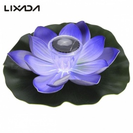 0.1W Solar Powered Multi-Colored LED Lotus Flower Lamp, RGB Water Resistant Outdoor Floating Pond Night Light for Garden Pool Red