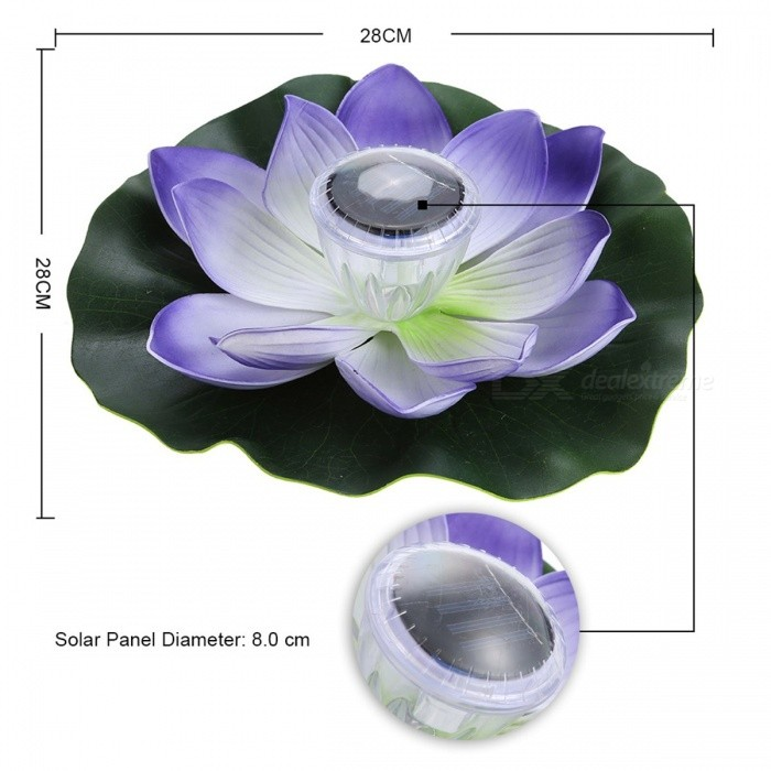 0.1W Solar Powered Multi-Colored LED Lotus Flower Lamp, RGB Water Resistant Outdoor Floating Pond Night Light for Garden Pool