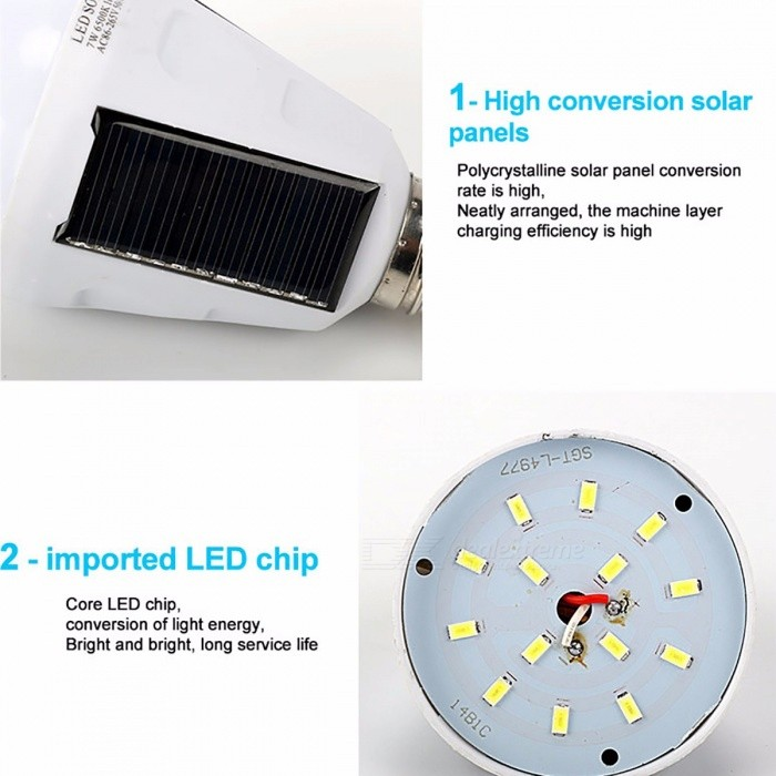 Gitex Rechargeable E27 LED Bulb Solar Powered Lamp 7W 12W 85~265V Outdoor Emergency Bulb Camping Hiking Fishing Light