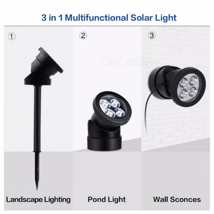 LumiParty Outdoor Waterproof Solar Powered Lamp for Garden Landscape Lighting, LED Spotlight Underwater Light