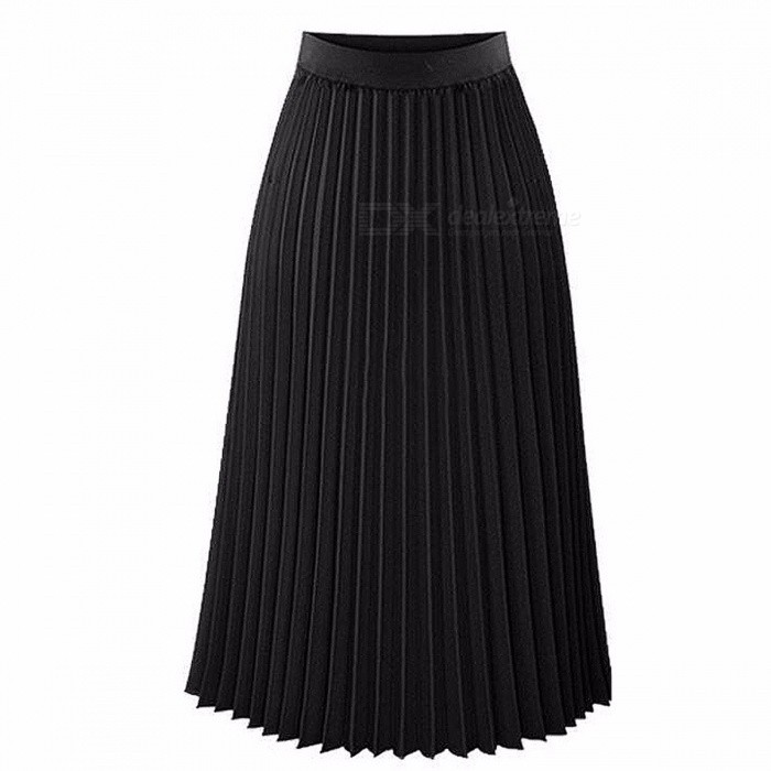 Aonibeier Fashion Women's High Waist Pleated Solid Color Length Elastic Skirt, Lady Party Casual Skirts Dress
