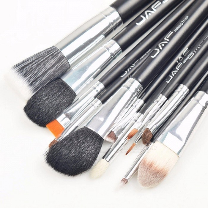 JAF 12Pcs Convenient Portable Cosmetic Beauty Makeup Brushes Kit, Made of Natural Hair Synthetic Duo Fiber