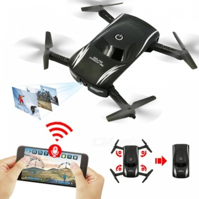 Global Drone GW186 Mini Selfie Drone Foldable Quadcopter Voice Phone Control Micro RC Toy with HD Camera VS JY018 Black (X185 BNF)
