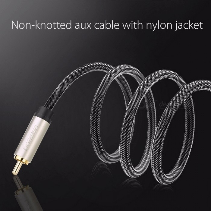 Ugreen Nylon Braided RCA Male to RCA Male Coaxial Cable, Stereo Audio Video  RCA Cable for Home TV Amplifier 1m