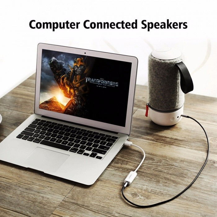 Ugreen External USB Audio Sound Card, Mic Adapter Speaker 3.5mm Stereo Audio Cable Headset for PS4 Laptop Computer Headphone