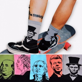 Fashion Casual Art Socks, Cotton Crew Lincoin 3D Print Design Skate Brand Happy Meias Harajuku Novelty Sox for Men Women  Black