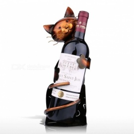 TOOARTS Cat Shape Wine Holder Rack Shelf, Metal Practical Sculpture Wine Stand, Home Decoration Interior Craft as picture