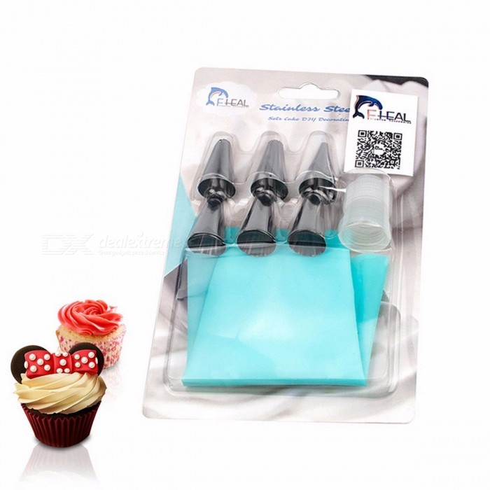 FHEAL Silicone Icing Piping Cream Pastry Bag with 6Pcs Stainless Steel Nozzle Set, Bakeware Cake DIY Decorating Baking Tool 6 PcsFood Molds<br>Description<br><br><br><br><br>Type: Cake Tools<br><br><br>Cake Tools Type: Dessert Decorators<br><br><br><br><br>Certification: CIQ,CE / EU<br><br><br>Brand Name: FHEAL<br><br><br><br><br>Feature: Stocked,Eco-Friendly<br><br><br>Material: Silicone<br><br><br><br><br>Sexually Suggestive: No<br><br><br>Obscene Picture: No<br><br><br><br><br><br><br><br><br><br><br><br>Feature:<br><br><br>*100% Brand New and high quality, soft. <br><br><br>*Reusable, durable, flexible and practical. <br><br><br>*Smooth interior for squeezing easily, rough exterior, better for gripping. <br><br><br>*Suit for any type of decorating tip. <br><br><br>*Can hang on wall conveniently. <br><br><br>*Suit for making cakes, biscuit, cookies, chocolate, pie, etc. <br><br><br>*Use and clean easily. <br><br><br>&amp;nbsp;<br><br><br>Specifications: <br><br><br>Material:Silicone <br><br><br>Color: Light blue <br><br><br>Piping Bag Size: Approx.31*16cm(L*Dia.) <br><br><br>&amp;nbsp;<br><br><br>Package Included: <br><br><br>1* Cake Decorating Tool DIY <br><br><br>6*&amp;nbsp;Stainless Steel Nozzle <br><br><br>1* converter <br><br><br>&amp;nbsp;<br><br><br>-Note:&amp;nbsp; <br><br><br>1.Please allow 0-2cm error due to manual measurement. pls make sure you do not mind before you buy. <br><br><br>2.Due to the difference between different monitors, the picture may not reflect the actual color of the item.<br>