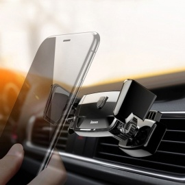 Baseus Car Mount Holder Stand Air Vent Mount Car Phone Holder Auto Clip Phone Mount for IPHONE Xiaomi Mobile Phones Black