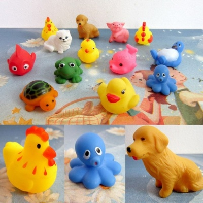 13Pcs Mini Rubber Cute Lovely Animals Shape Sound Voice Baby Shower Party Favors Toy for Kids, Children Colorful
